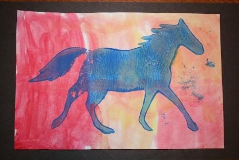Blue Horse by Pre-K Art Tot